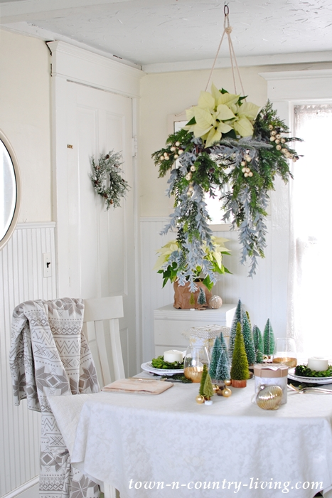 Christmas floral chandelier in breakfast nook