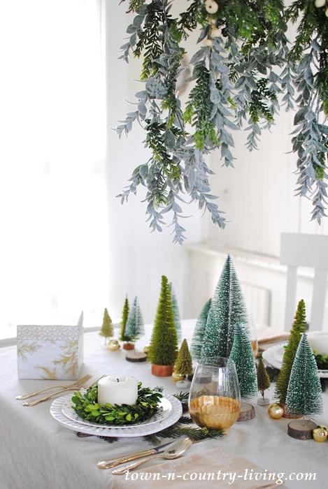 Christmas centerpiece of bottle brush trees