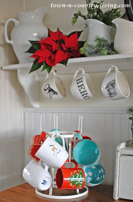 French Drying Rack with Holiday Mugs