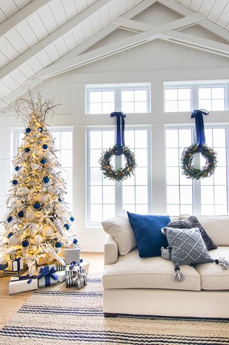 Blue and White Christmas Tree by The Lilypad Cottage