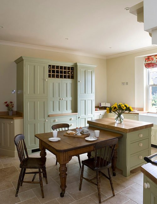 country kitchen with custom cabinetry