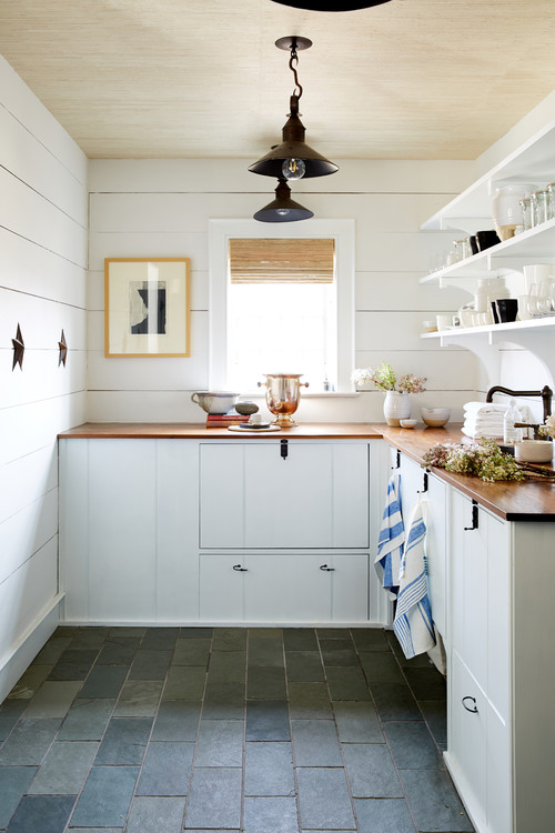 farmhouse kitchen with butcher block counter tops