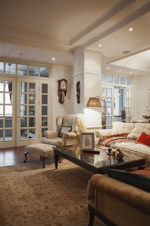 Traditional style living room with French doors