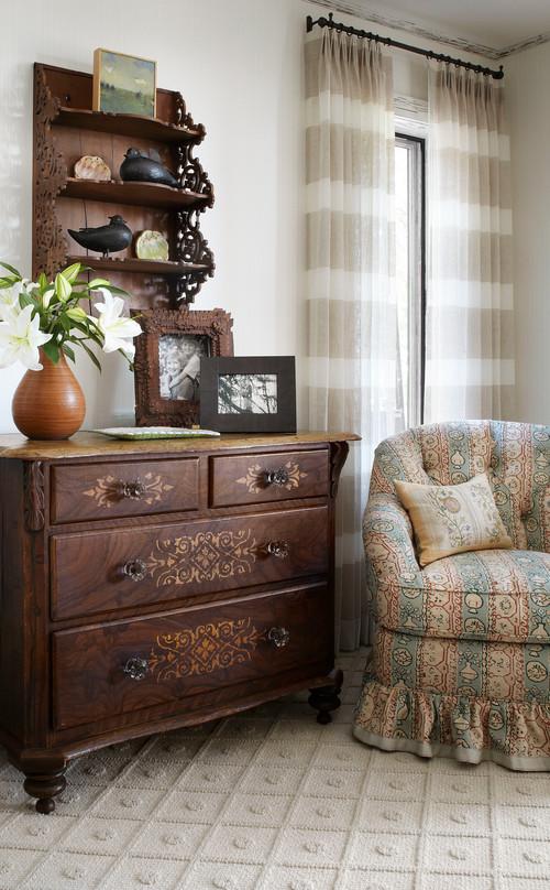 Cozy nook in cabin bedroom