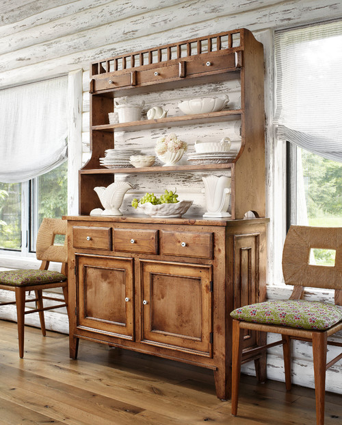 Dining hutch with white dishes