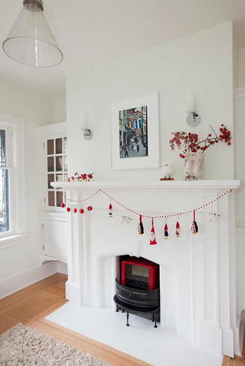 Simple Red and White Christmas Mantel