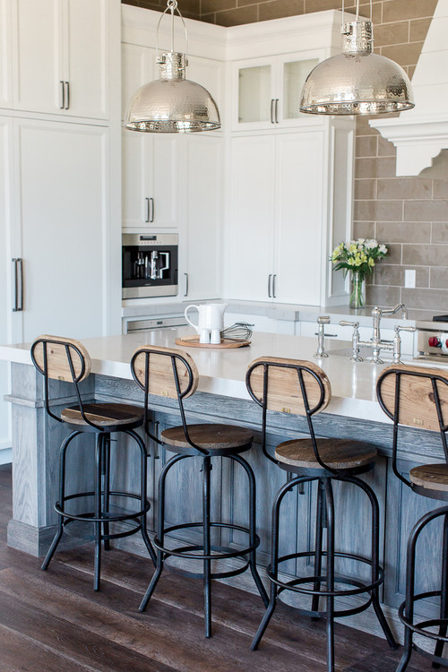 Transitional Kitchen with Kitchen Stools