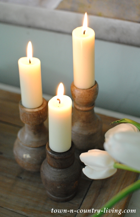 Trio of Wooden Candle Holders