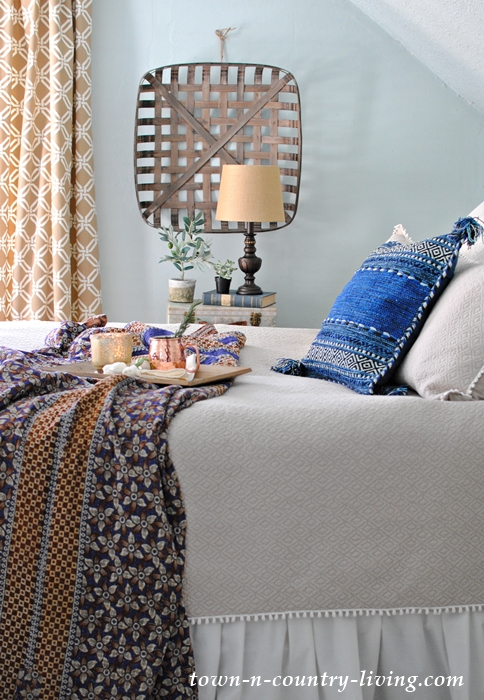 Cozy Farmhouse Bedroom with Kantha Blanket