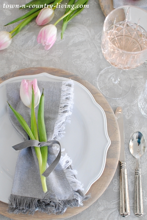 Pink and Gray Place Setting