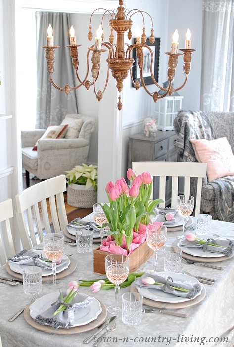 Pink and Gray Valentine Table Setting