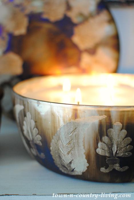 Dark Mercury Glass Lidded Candles
