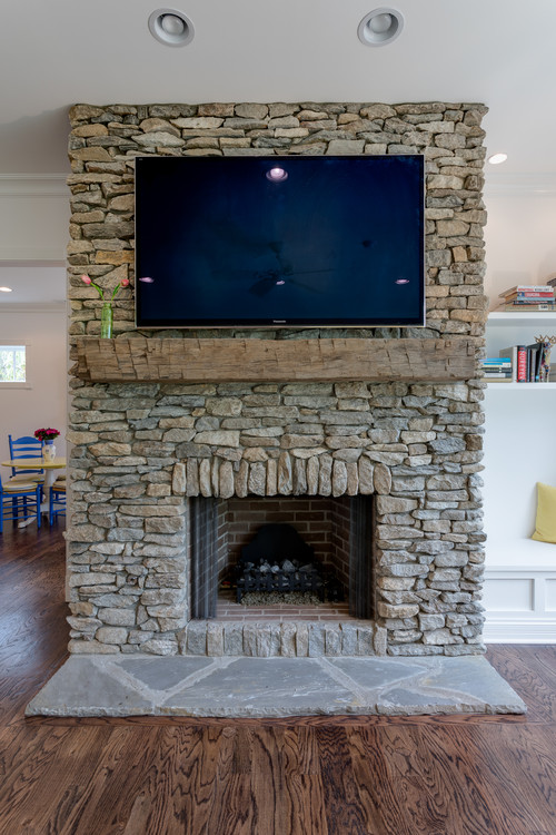 Craftsman Style Stone Fireplace