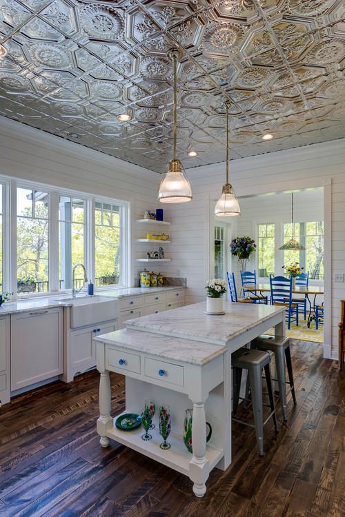 White Custom Kitchen with Tin Ceiling