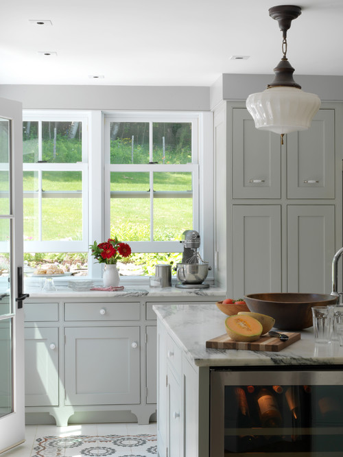 Farmhouse Entry with Light Gray Cabinets