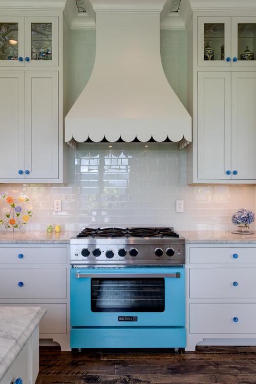 Farmhouse Kitchen with Blue Stove