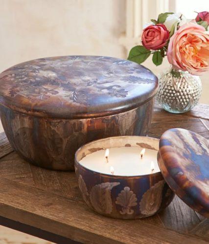 Pottery Barn Oxidized Mercury Lidded Candle Pot