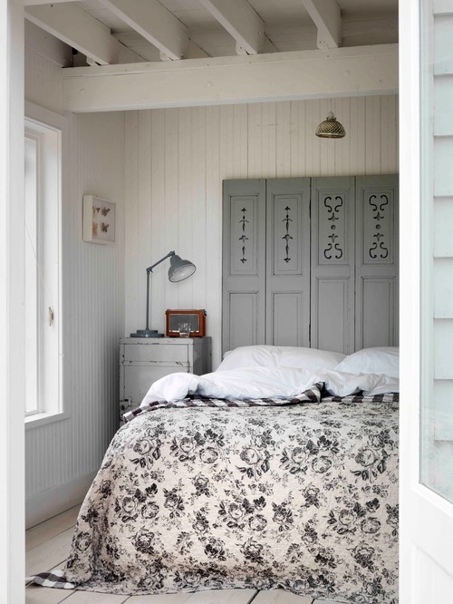 Shabby Chic Style Bedroom in Gray