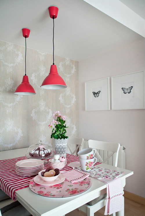 Shabby Chic Pink and White Dining Room