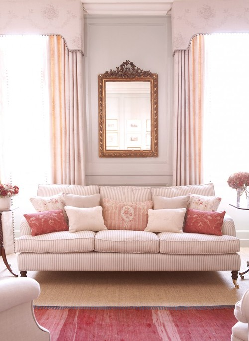 Pink Traditional Living Room