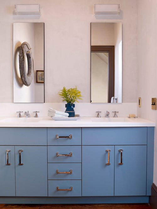 Bathroom with Blue Double Vanity