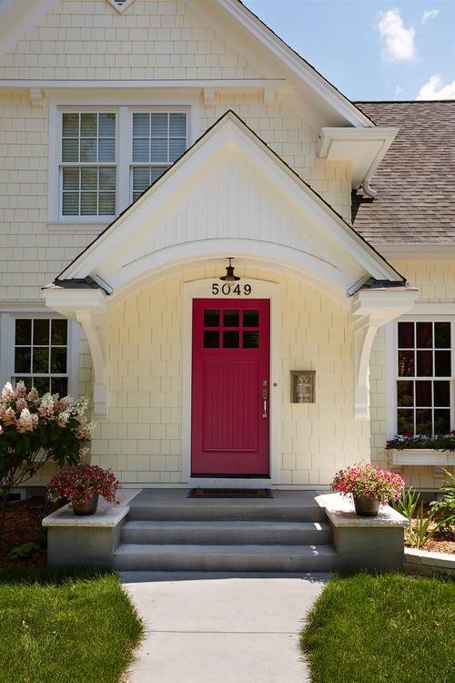 Yellow Cottage with Pink Door