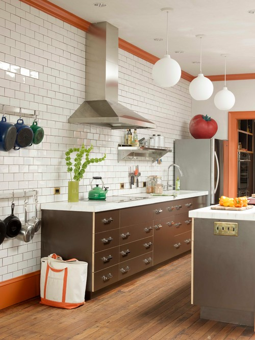 Urban Galley Kitchen with Wood Floors