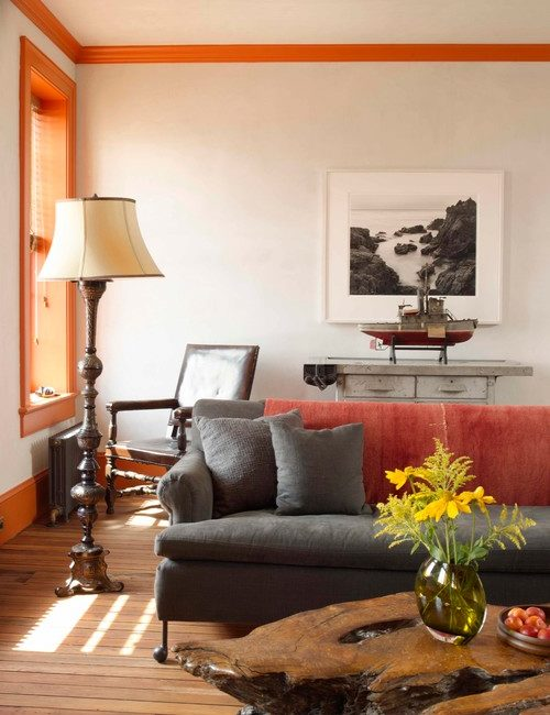 City Living Room in Orange and Gray