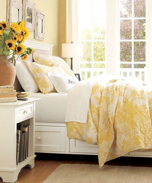 Yellow and White Sunny Bedroom