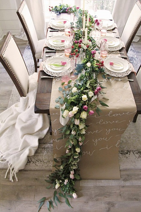 Valentine Table Setting with Floral Runner