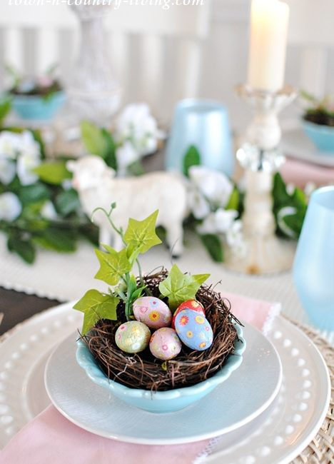 Pink and Blue Table Setting