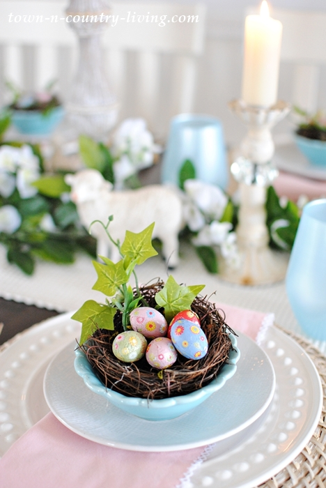 Pink and blue easter table setting town country living for Easter dinner table setting ideas