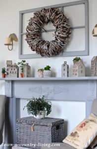 A Cozy Painted Mantel and Village