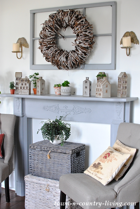 Cozy Ceramic Tealight Village on Painted Mantel