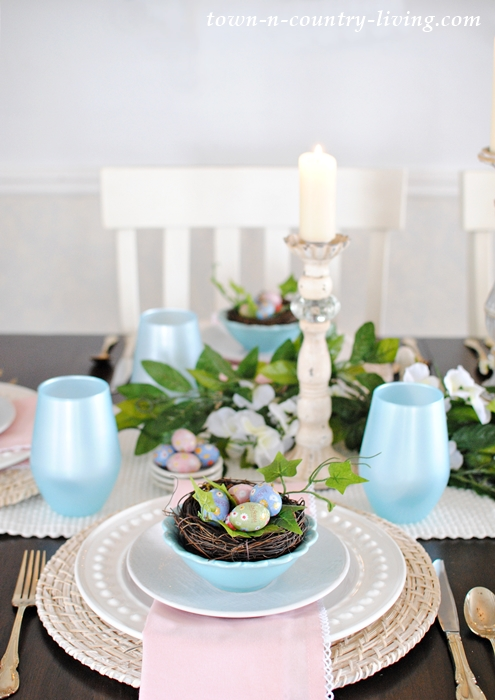 Pink and Blue Spring Table Setting
