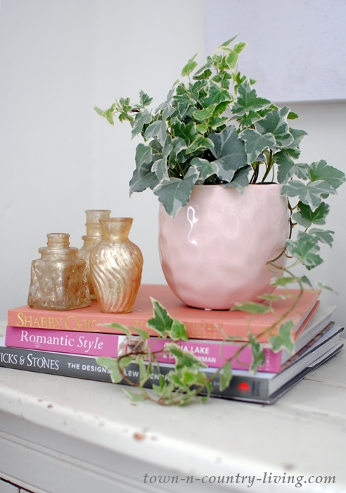 Pink and Gold Vignette for a Romantic Home