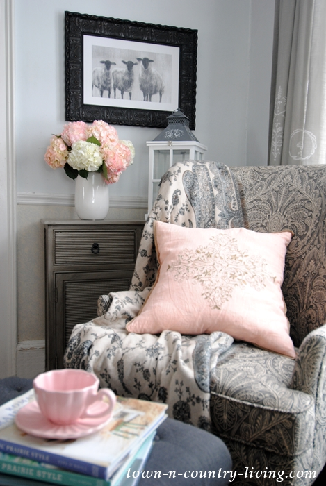 Pink And Gray Cozy Corner · Pink And White Hydrangeas. Create A Romantic  Home ...