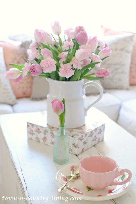 Spring Decorating with Pink Carnations