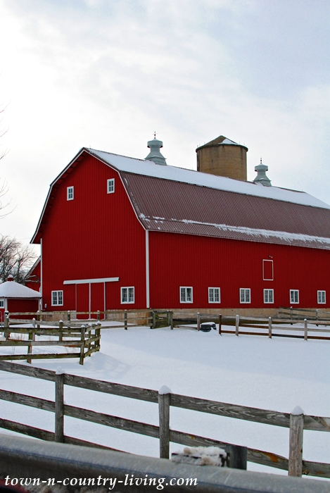 Red Country Barn in Winter Snow