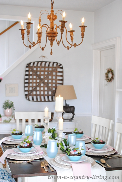 Pink and Blue Easter Table Setting