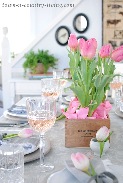 Pink and Gray Table Setting