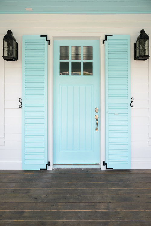 Light Blue Front Door with Shutters
