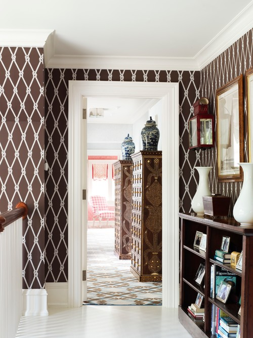 Traditional Hallway with Brown Wallpaper