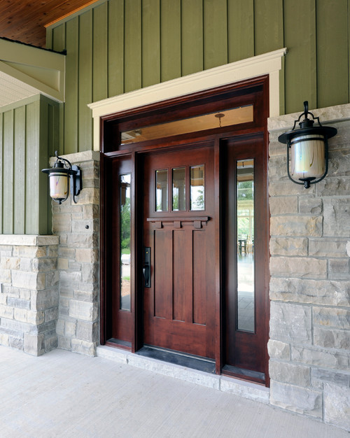 Wood Craftsman Front Door and Porch