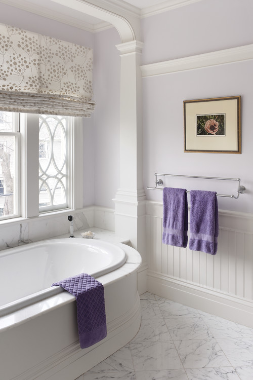 Traditional Bathroom with Lavender Accents