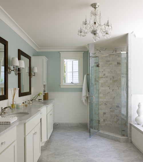 Traditional Bathroom in Pale Blue