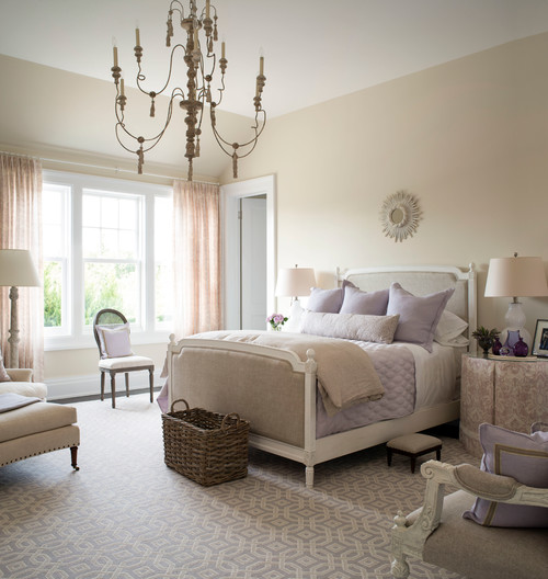 Traditional Bedroom with Lavender Bedding