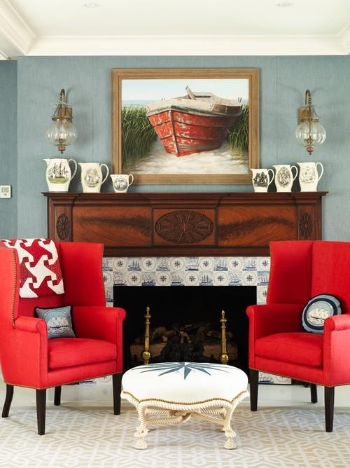 Bold Coastal Style Living Room