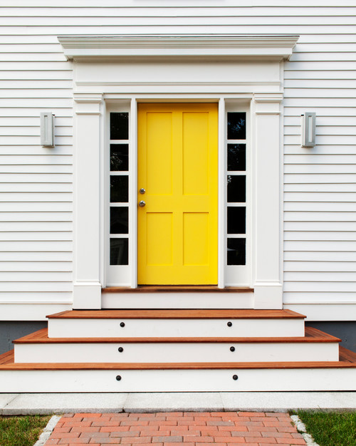 Yellow Front Door on White House