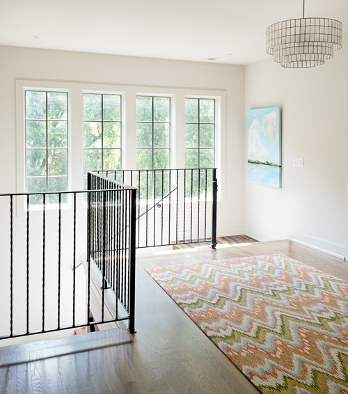 Upstairs Hallway with Metal Railing
